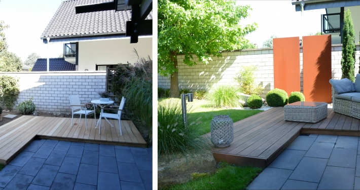 Holzplateau als Terrasse