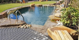 Schwimmteich mit natürlicher Uferzone